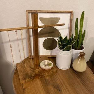 Handmade Wooden Necklace Holder display